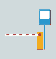 barrier not aallowing to enter and metal road sign vector image