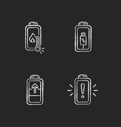 Battery cable charging process chalk white icons vector