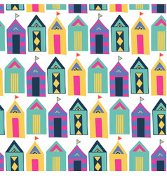 beach cabin bright colorful geometric vector image