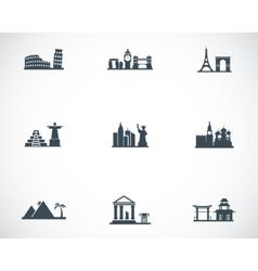 black landmarks icons set vector image