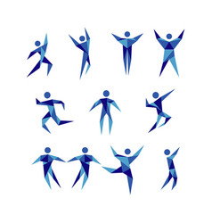 blue active people figure logo sign symbol icon vector image