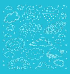 blue sky clouds icons set children sky vector image