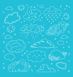 Blue sky clouds icons set childrens sky vector