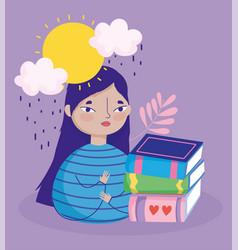 book day teen girl with books rainy day cartoon vector image