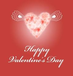bright red greeting card for Valentines Day vector image