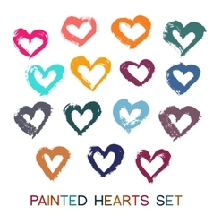 Brush Strokes Hearts Set vector image