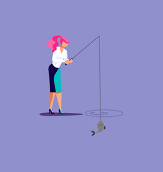 Businesswoman is fishing vector