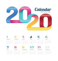 calendar 2020 calendar 2020 colorful line vector image