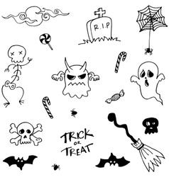 Character halloween doodle set vector