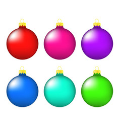 christmas bauble icon set symbol design winter vector image