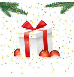 christmas with gift box and color baubles vector image