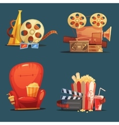 Cinema Movie Retro Symbols Cartoon Set vector image