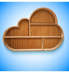 Cloud wood shelves and shelf design on wall vector image