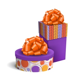 Colorful Violet and Orange Celebration Gift Boxes vector