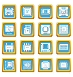 computer chips icons set sapphirine square vector image