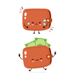 Cute happy and sad cry money banknote wallet vector