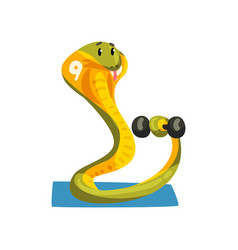 cute snake exercising with dumbbell sportive vector image