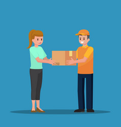 Delivery man handing a parcel to woman customer vector