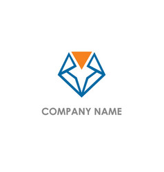 diamond triangle shape line logo vector image