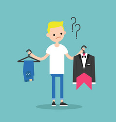 difficult choice young blonde boy trying to vector image