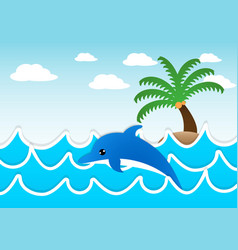 dolphin jumping in sea vector image