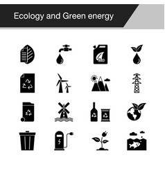 ecology and green energy icons design for vector image