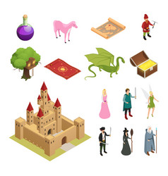 fairy tale isometric icons set vector image