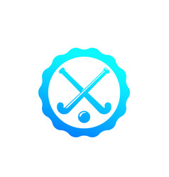 field hockey badge logo vector image