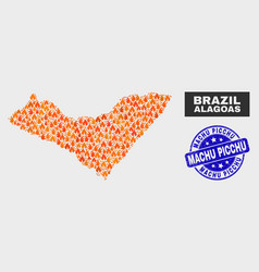 Flamed mosaic alagoas state map and scratched vector