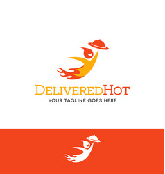 flaming character logo for food delivery business vector image