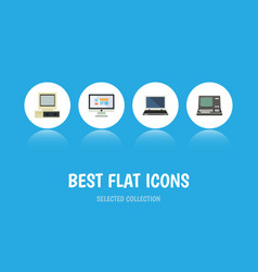 Flat icon computer set of display technology vector