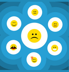 Flat icon expression set of smile sad hush and vector