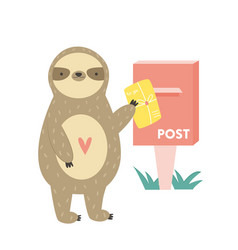 funny cute sloth sending postcard vector image
