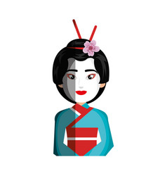 geisha japanese girl icon vector image