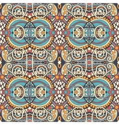 geometry vintage floral seamless pattern ethnic vector image