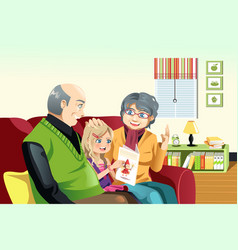 grandparents and grandaughter reading vector image