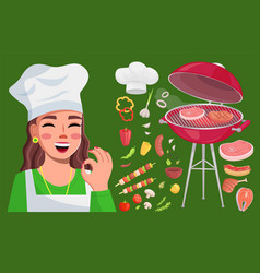 grill bbq collection cook woman show okay gesture vector image