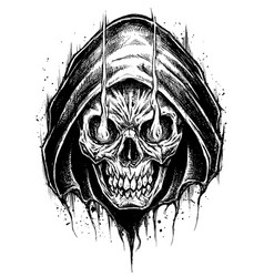 Grim reaper drawing line work vector