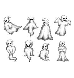 Halloween cartoon eerie white ghosts vector