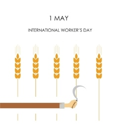 Hand with a sickle cut-off ears of corn vector image