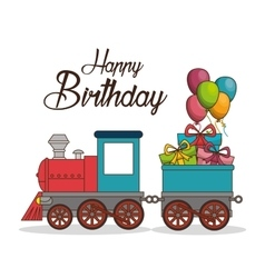 happy birthday train poster vector image