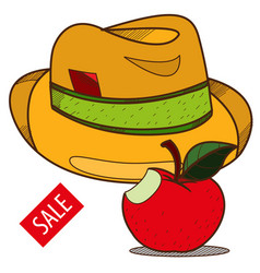 hat and apple vintage things sales logo vector image