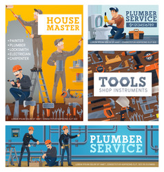house repair services workers tools shop banners vector image