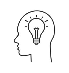 human head with lightbulb inside linear icon vector image
