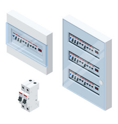 isometric electrical panel with fuses and vector image