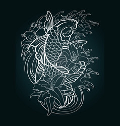 Koi fish tattoo japanese style pattern draw vector