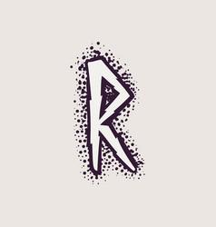 Letter r rune logo on dots background vector