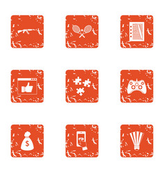 License contract icons set grunge style vector