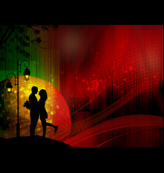Lovers under street lamp poster or banner vector