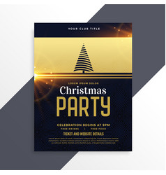 luxury golden christmas party flyer template vector image